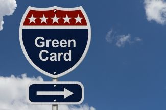 Green Card Street Sign with Arrow